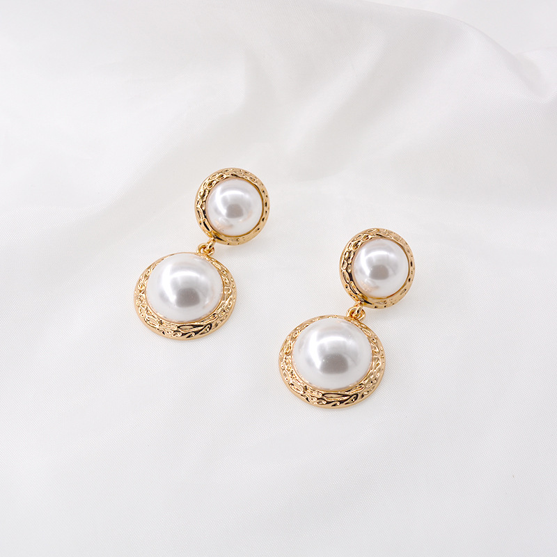 S925 Silver Post Korean New Lady Round Baroque Sterling Silver Pearl Earrings nihaojewelry Wholesale NHNT213855