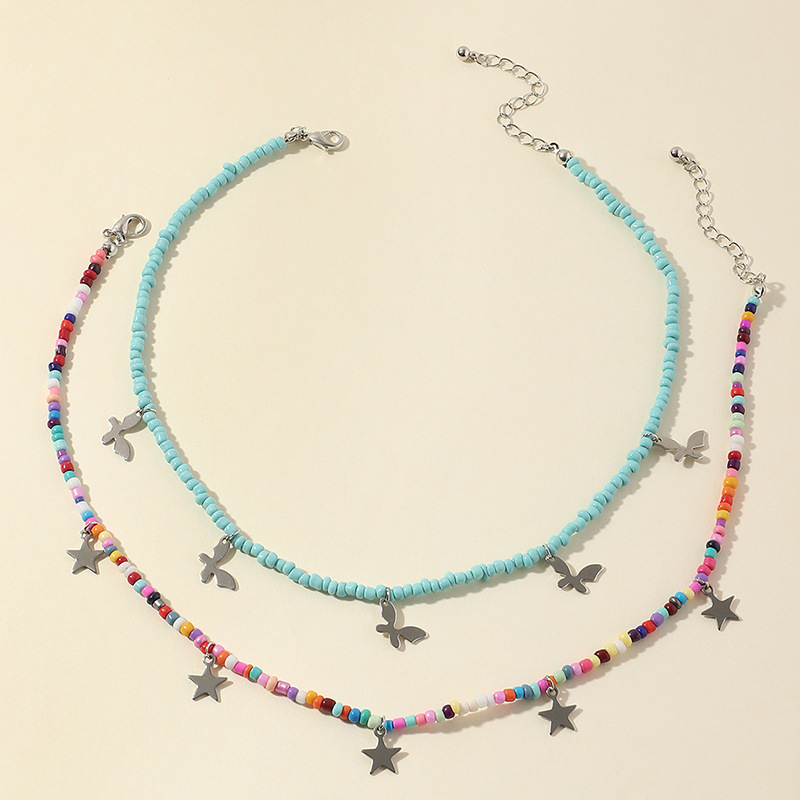 Fashion Bohemian Color Rice Bead alloy Collar Butterfly Star Necklace NHNZ244523