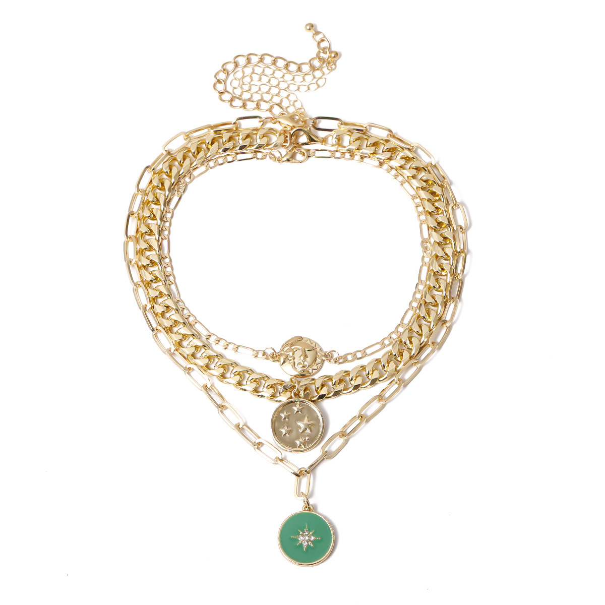 New fashion multilayer microinlaid punk pendant retro sun and moon relief embossed pendant necklace wholesale NHXR210581