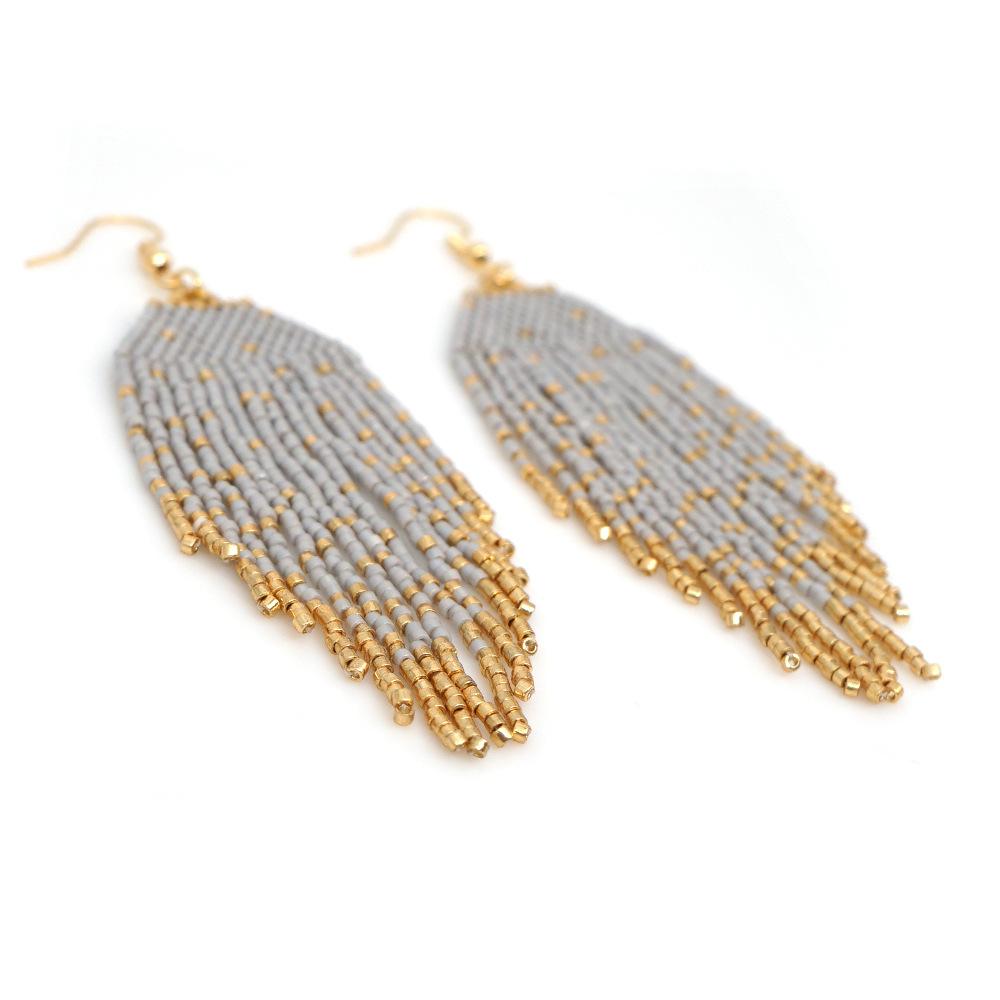 fashion ethnic style jewelry rice bead woven tassel geometric earrings wholesale nihaojewelry NHGW243576
