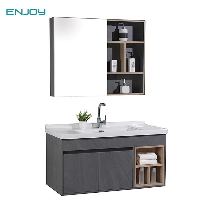 批发卫生间洗手台盆柜镜一体洗漱台木柜 现代轻奢实木浴室柜组合