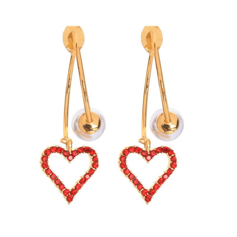 Korean fashion 925 silver pin earrings fashion crystal pearl earrings diamond love earrings wholesale nihaojewelry NHQD227814