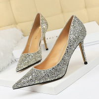 372-1 European and American high heels women's shoes thin heels high heels shallow mouth pointed sexy nightclub show thin shine Sequin single shoes