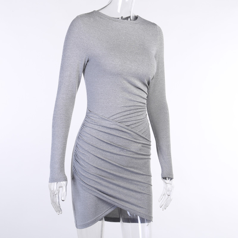 solid color long-sleeved pleated dress NSXE24831