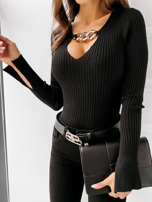 deep V chain decoration sexy long-sleeved solid color bottoming shirt   NSYD3802