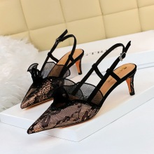 313-a5 European and American fashion banquet women's shoes high heel shallow mouth pointed mesh lace lace cut out trip strap sandals