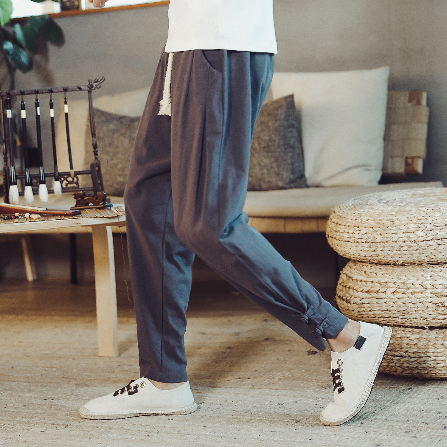 Foreign trade cross-border summer 2020 new Chinese-style men's cotton and linen large size trousers drawstring waist trousers for men