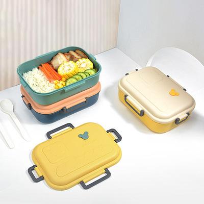 货源可酪饭盒四扣大容量密封塑料饭盒学生午餐盒办公室带饭盒地摊神器批发