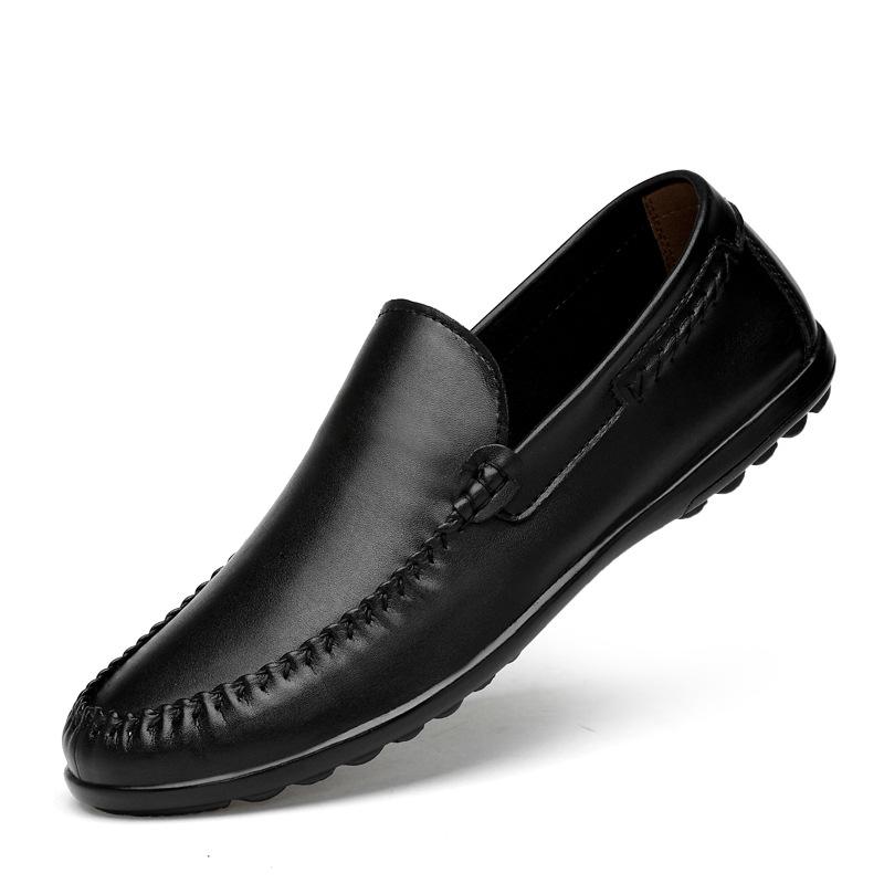 白色商务男夏季透气休闲男式皮鞋男鞋软底白鞋豆豆真皮橡胶鞋