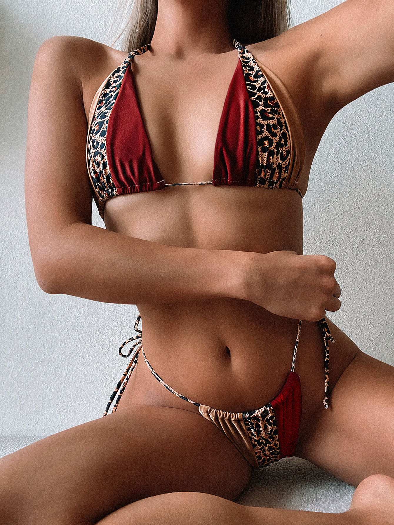 Hot Style Ladies Split Swimsuit Leopard Print Stitching Bandage Sexy Swimsuit Bikini wholesale NHDA71