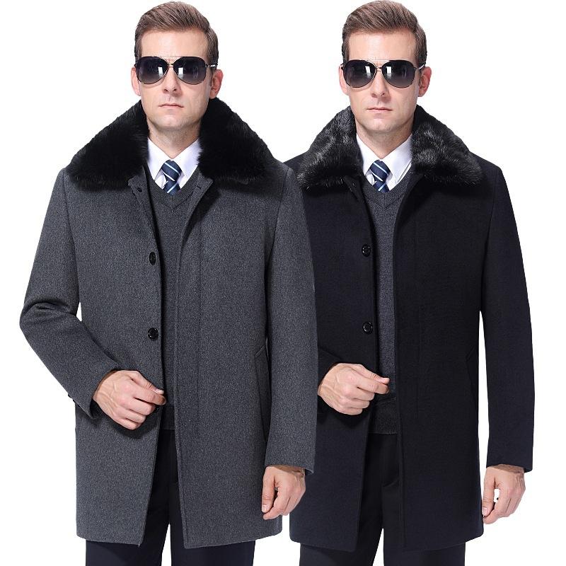 2020羊绒大衣中老年男装狐狸毛领中长款秋冬季爸爸装羊毛呢外套