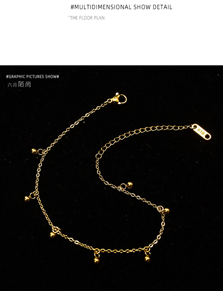 solid 7 round bead anklets fashion jewelry titanium steel plated 18K real gold anklets wholesale nihaojewelry NHOK235217