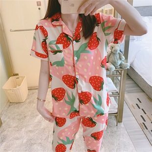 2020 new short-sleeved trousers women's pajamas summer pajamas women's short-sleeved trousers female student buttons plus size home service