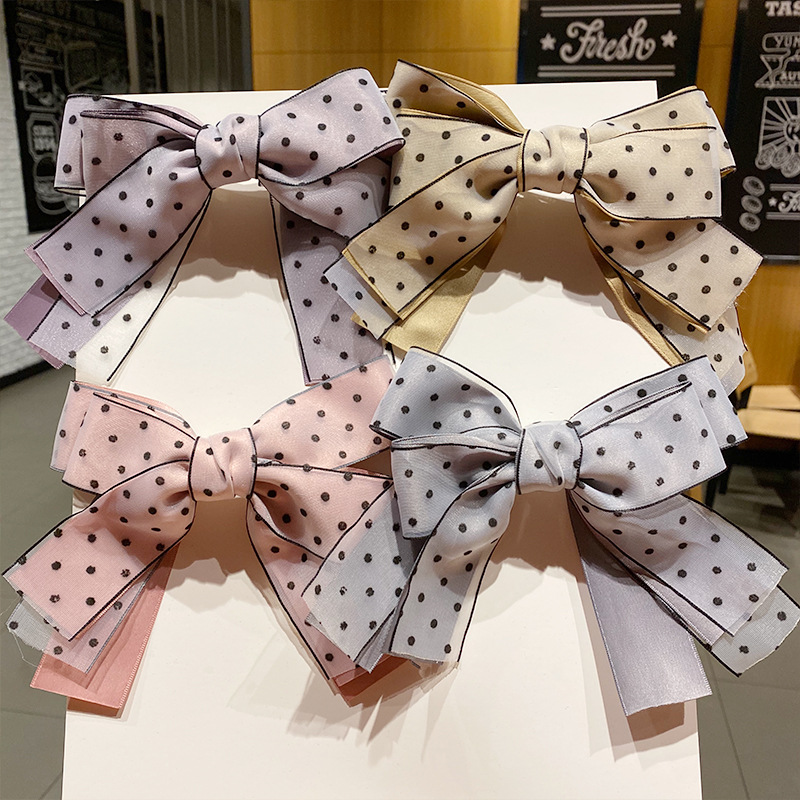 Korean wave dot doublelayer big bow hairpin spring clip color ribbon top clip wholesale nihaojewelry NHNA239517