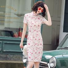 雙層麻短款春夏旗袍年輕款少女清新可愛粉色日常連衣裙學生裝Q111