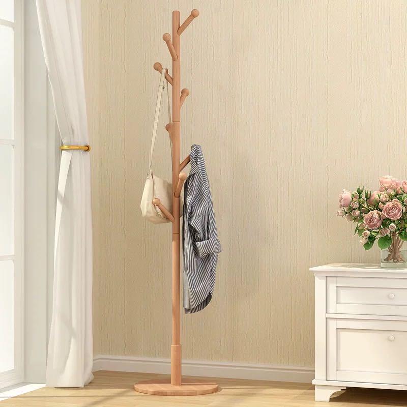 衣架落地卧室挂衣架简约时尚收纳架家用衣帽架木质衣服架子省空间