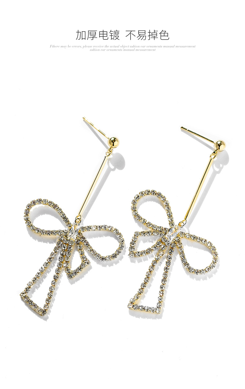 Asymmetric bow tassel earrings women's new long 925 silver pin sparkling earrings NHPP200369