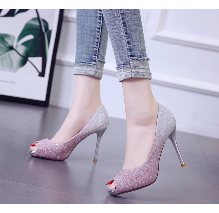 Spring and summer new gradient single shoes fine heel platform women's shoes color matching fish mouth shiny high heel NHSO200277