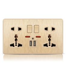 國際版13A英式五孔146型雙聯13A帶USB多功能插座面板香檳金
