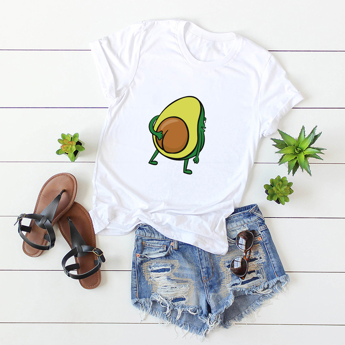 hot Slim Comfortable Casual Large Size Short Sleeve Women's T-shirt NSSN869