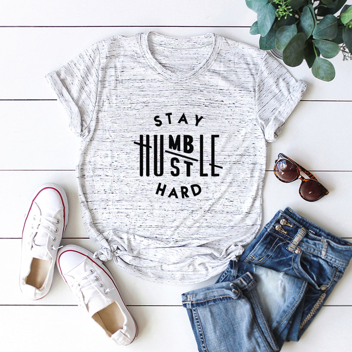 casual letters printed short-sleeved women's T-shirt NSSN1803