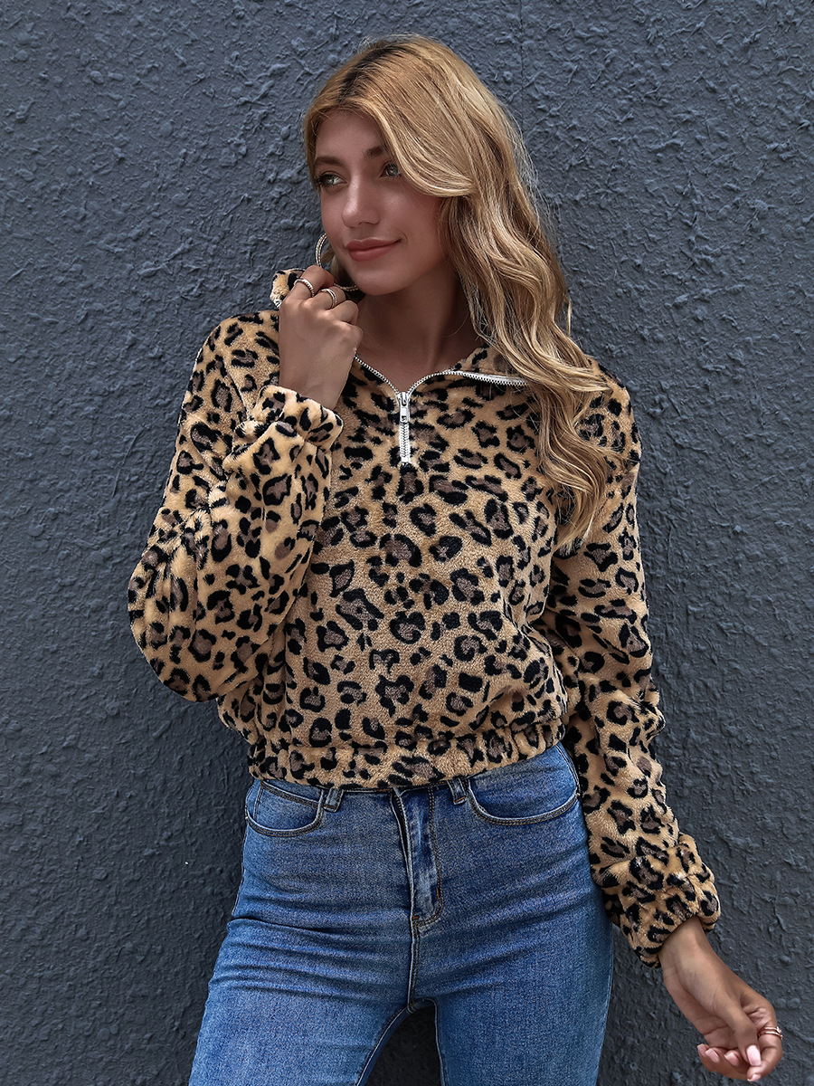 hot sale winter casual lapel loose and thin leopard print long sleeve shirt NSAL1910