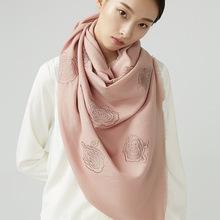 80支斜纹纯羊毛绣花围巾加长披肩  娜丝玫瑰 64X192CM 约200克
