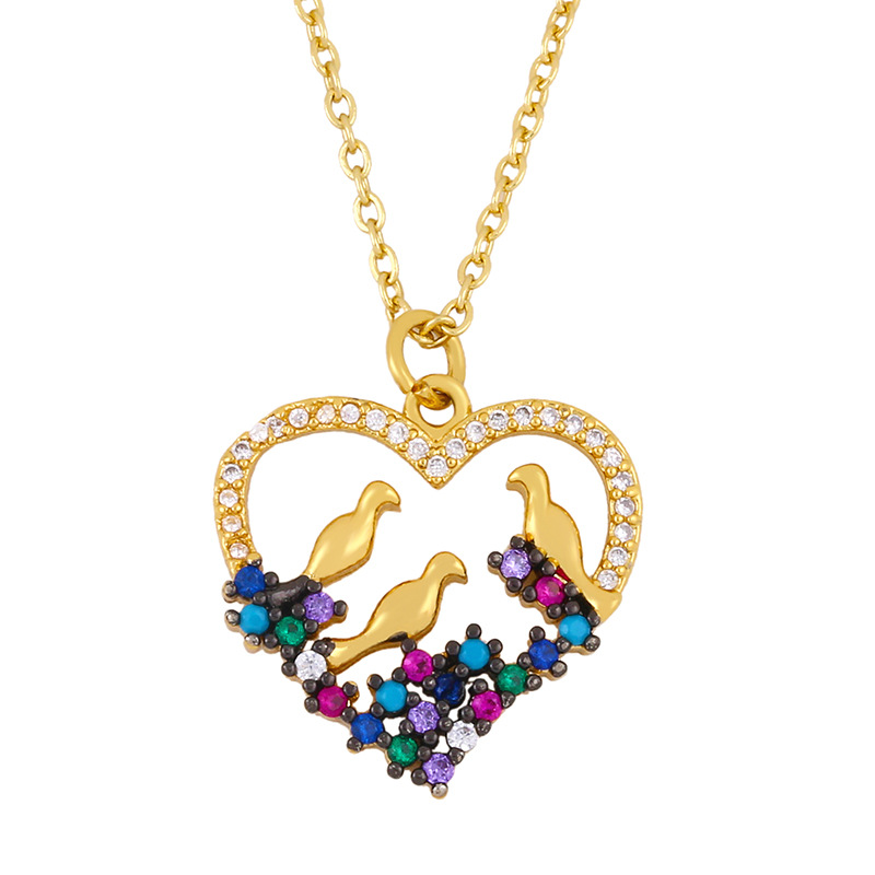 New Fashion Peach Heart Necklace Mother's Day Gift Hip Hop Necklace Wholesale NHAS210831