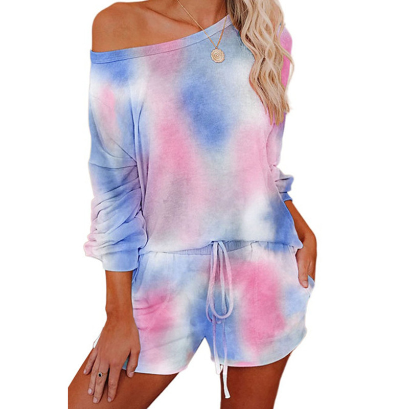 hot style women's fashion printing long-sleeved casual home service suit NSKX5945