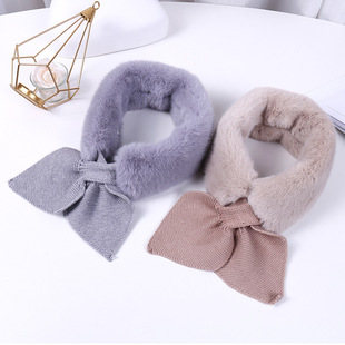 Warm autumn and winter ladies scarf faux rabbit fur cross heart-shaped scarf Japanese and Korean sweet fishtail stitching woolen collar