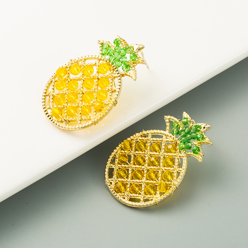 retro pineapple S925 silver needle sweet handmade crystal earrings wholesale nihaojewelry NHLN241402