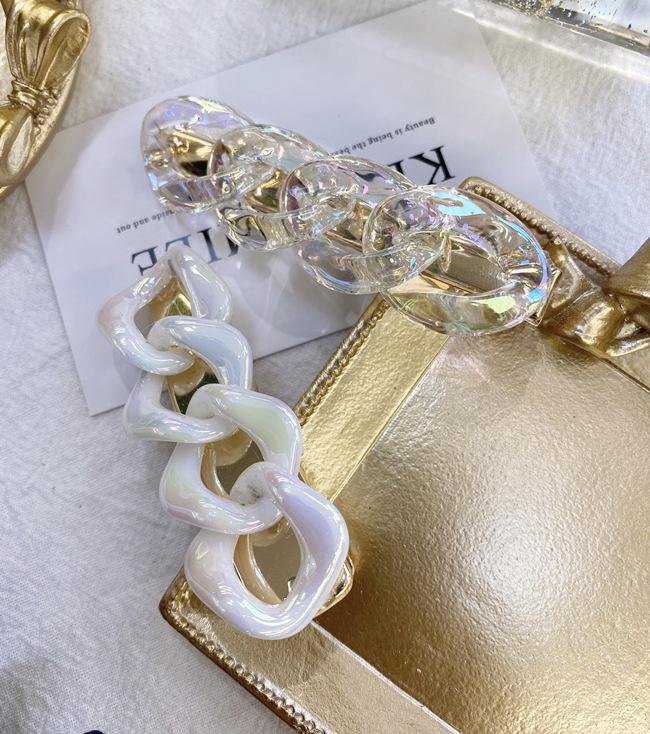 Korean fashion acetate hairpin acrylic geometric cross chain hollow seamless hairpin hair clips wholesale nihaojewelry NHSM222213