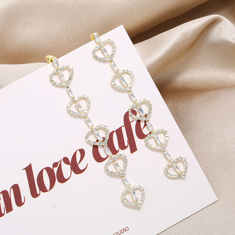 New personality temperament long S925 fashion simple wild cute heart-shaped delicate earrings NHKQ199032