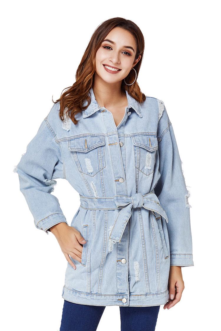 loose large size lapel denim jacket NSSY9486