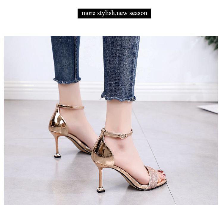 Summer new word buckle strap sandals stiletto cat and rhinestone open toe high heel women's shoes NHSO200259