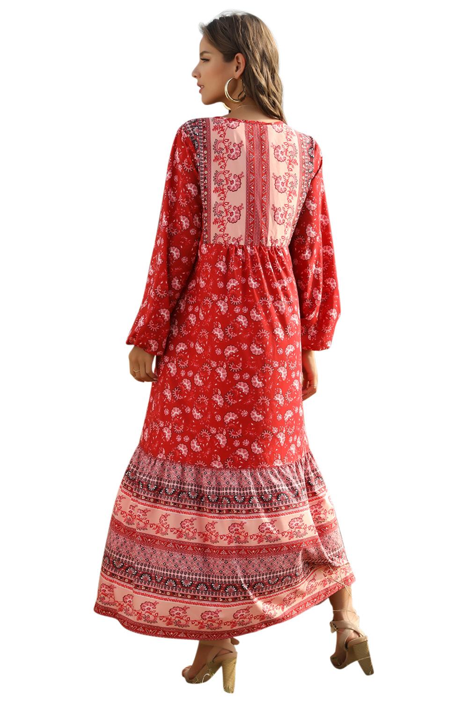 Lace-up long bohemian print loose long sleeve dress NSDF1494