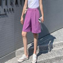 2020夏季新款高腰五分西裝褲女紫色休閑大短褲直筒中褲潮