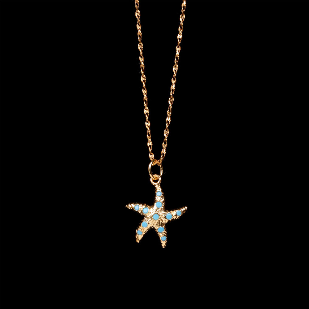 Fashion marine style new beach wind micro inlaid blue zircon starfish pendant necklace with accessories NHPY199742