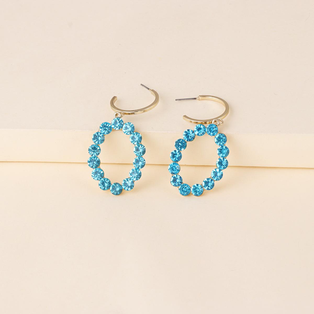 Korean new fashion wild full diamond oval artificial water geometric star earrings  NHJJ261699