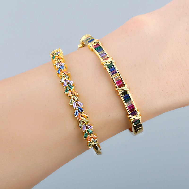 Color zircon bracelet women original fashion colorful geometric open bracelet boutique jewelry wholesale nihaojewelry NHAS236313