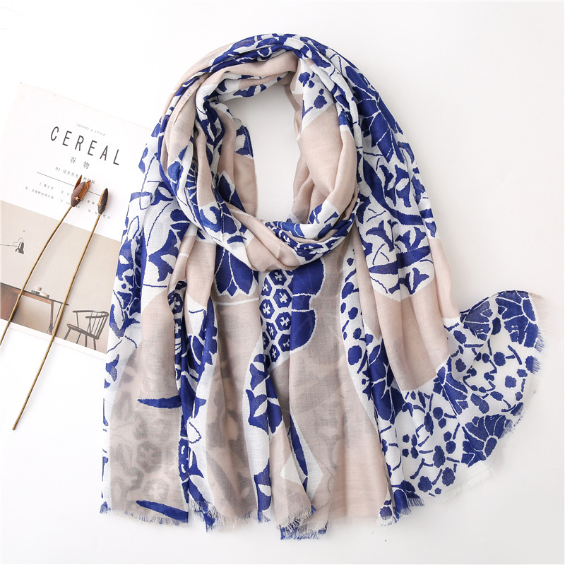 Scarf women's thin cotton and linen feel small flowers wild shawl wholesale scarf NHGD199187