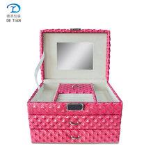 三層大容量PU皮首飾盒便攜皮質珠寶收納袋戒指項鏈手表整理盒子