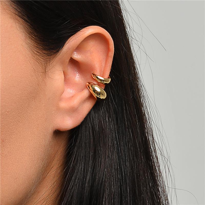 Fashion 2 Sets C-shaped Glossy Alloy Ear Clip Set