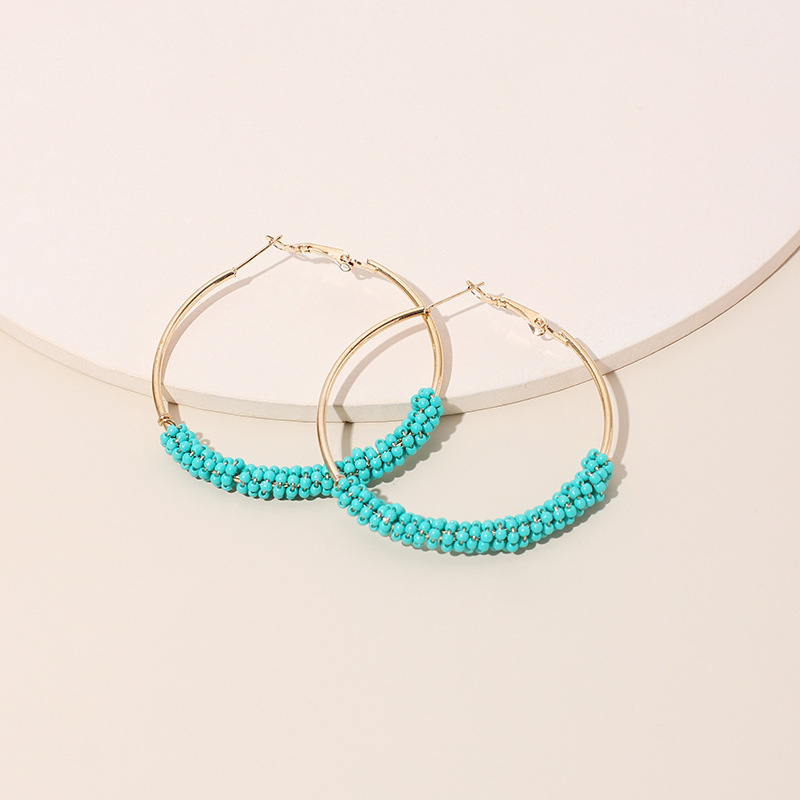 Exaggerated geometric big circle tide fashion ethnic style handwoven rice bead earrings for women NHRN240953
