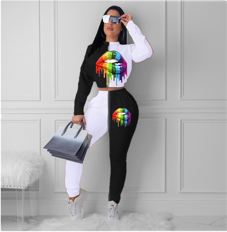 new women's casual lip printing black and white contrast color two-piece sports suit NSYF3839