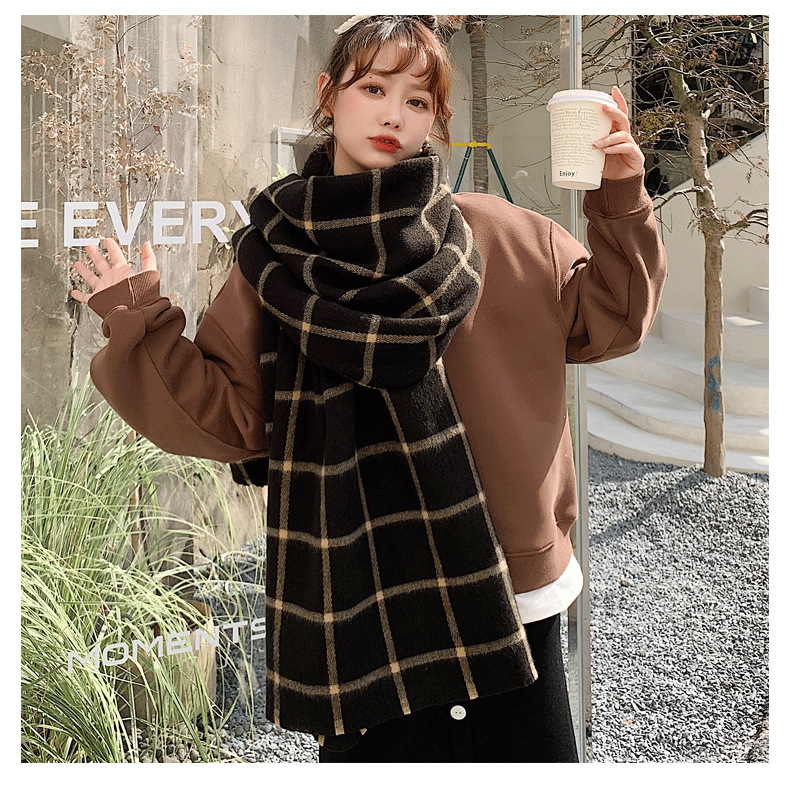 plaid thicken cashmere long scarf NHCM285302