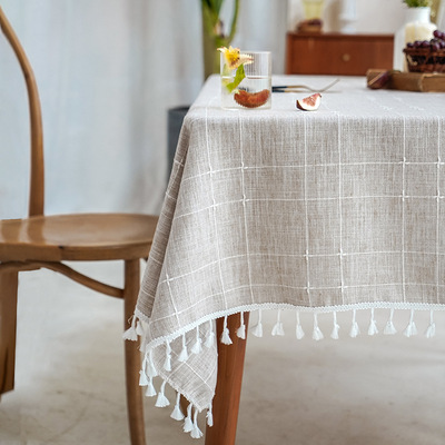 Tablecloth table cloth table cover Table hollowed out cotton linen tassel art pure dining table double stripe jacquard lattice tea table cover