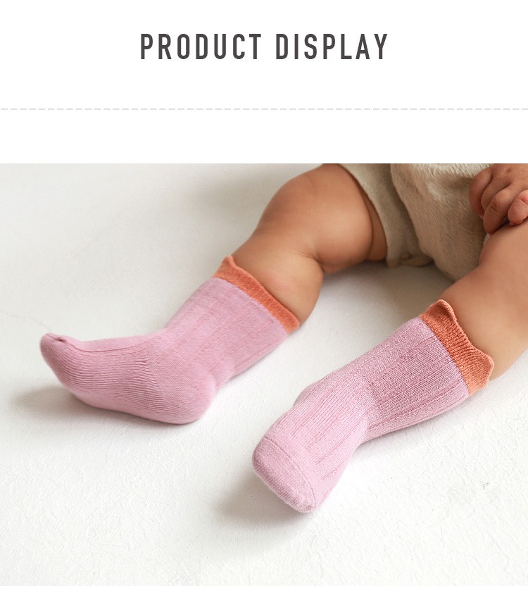 Autumn and winter new baby short tube cute color matching loose mouth cotton socks wholesale NHER246538