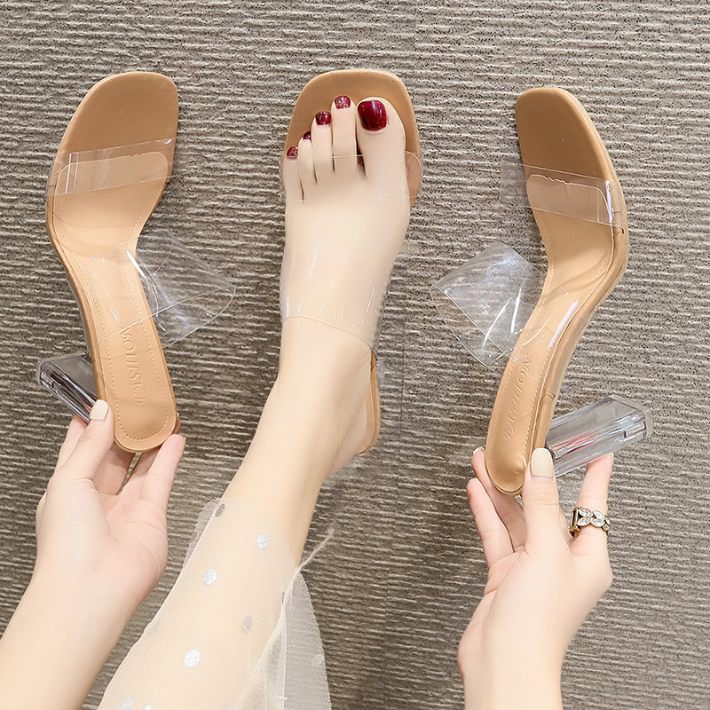 Women's outer wear slippers thick heels...