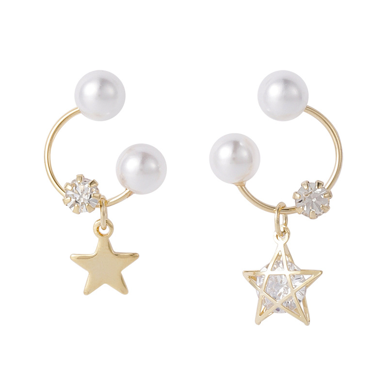 925 silver pin small and sweet pearl rhinestone pentagram star earrings Korean popular French elegant small earrings NHMS194286